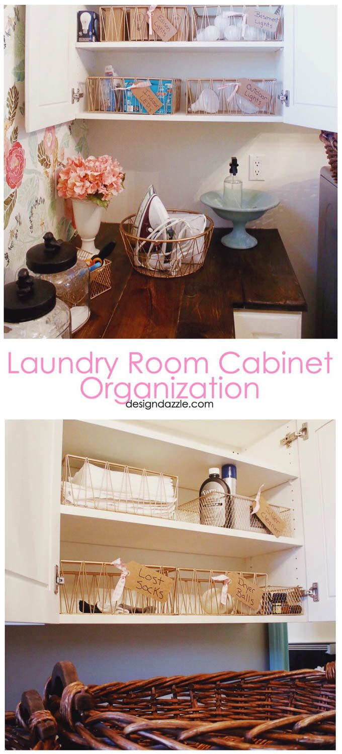 Gorgeous Laundry Room! Great ideas for laundry organization and decor. #laundryroomdesign #laundryroommakeover