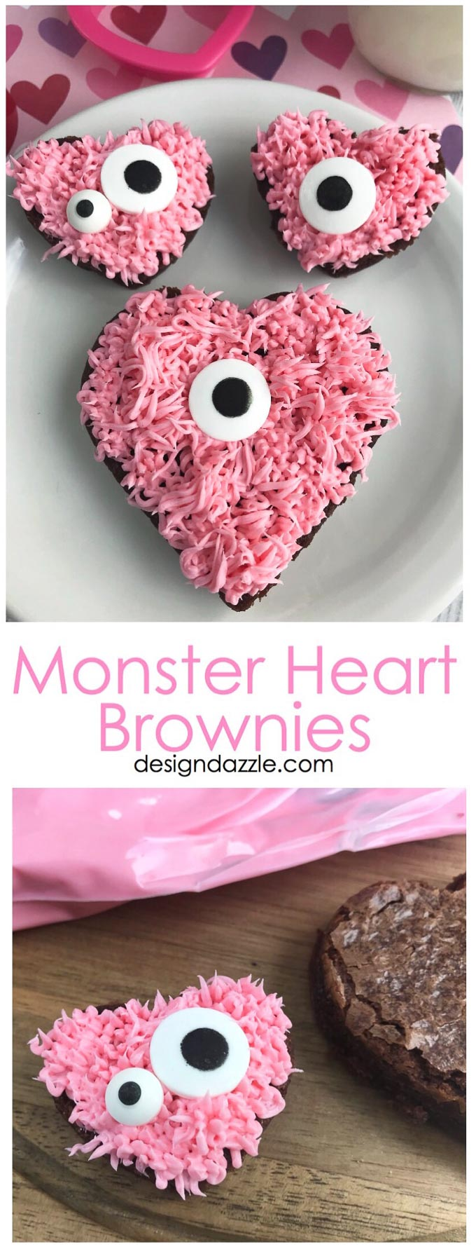 Are you in charge your child's class party? These adorable monster heart brownies are a very fast and easy dessert to make for Valentine's Day! | Design Dazzle