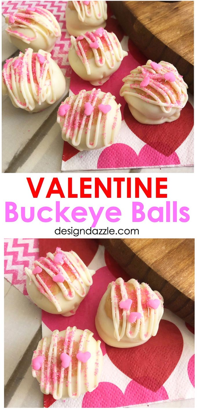 Valentine Buckeye Balls, what better way to celebrate Valentine's Day than with America's favorite duo: peanut butter and chocolate. | Design Dazzle
