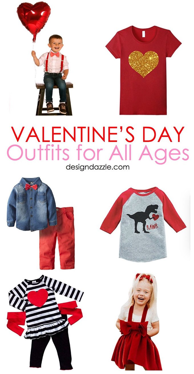 With the day of love right around the corner, here are 26 adorable and affordable Valentine's Day outfits for the whole family! | Design Dazzle
