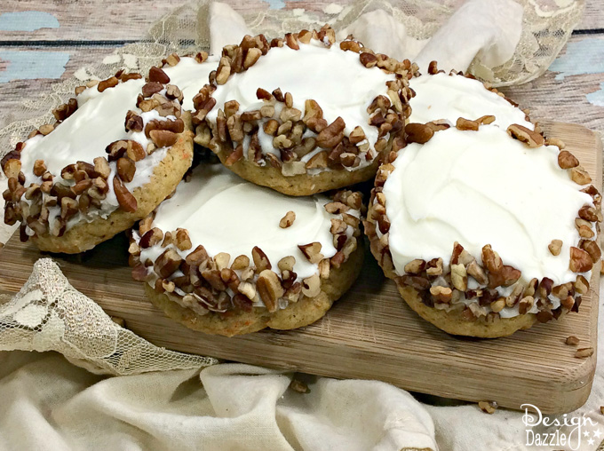 If you're looking for tasty, easy, and deliciously moist cookies than these mouther watering carrot cake cookies will be the perfect cookie for you! | Design Dazzle