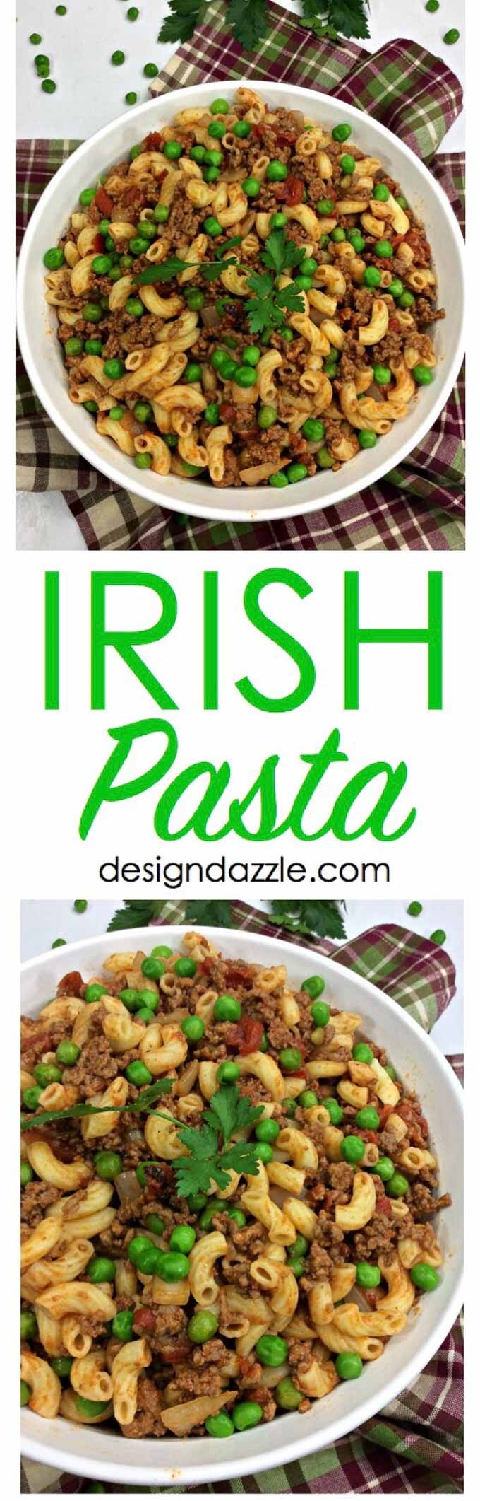 This Perfect Irish Pasta recipe is colorful, delicious, and a great way to celebrate St. Patricks day with your family! So try something new and make this delicious Irish Pasta recipe! | Design Dazzle