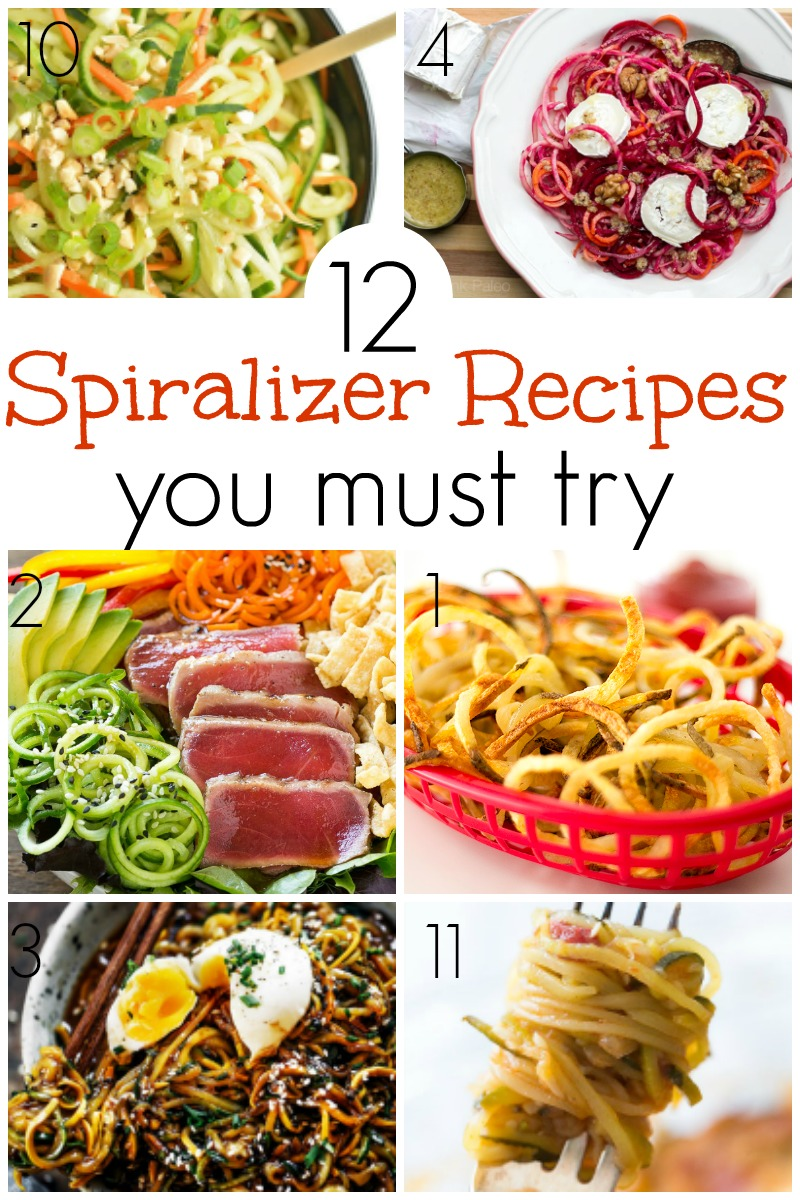 From baked curly fries to cucumber salads to carrot and cabbage slaws, there are a ton of recipe ideas out there for you to try your hand at spiralizers, and we've collected 12 Exciting Spiralizer Recipes for you to try out for yourself. | Design Dazzle