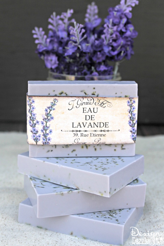 This Homemade Rosemary Lavender Soap recipe is surprisingly simple and turns out absolutely gorgeous every time you make it! | Design Dazzle