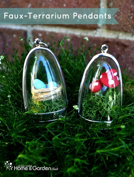 Learn how to make fun and super cute faux terrarium pendants! Great for indoor and outdoor decor! - Design Dazzle