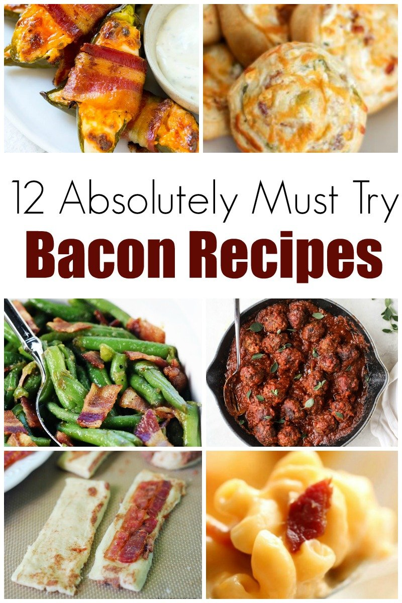 Bacon!  What's not to love about bacon?  Here we have a list of 12 absolutely must try bacon recipes! - Design Dazzle