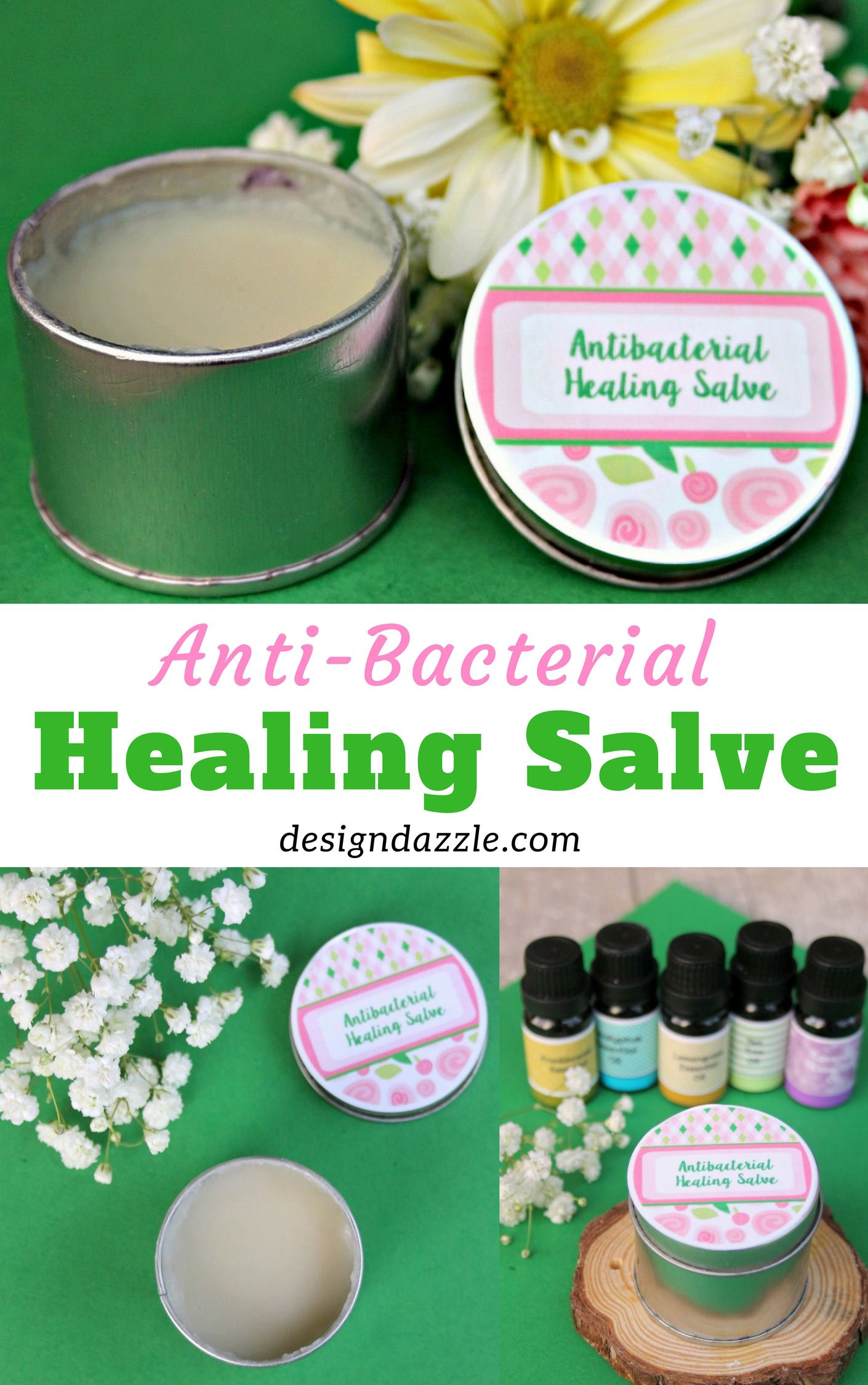 You will love this healing essential oils salve! It's so easy to make and so amazing. It helps soothe and heal minor cuts, bruises, and burns.