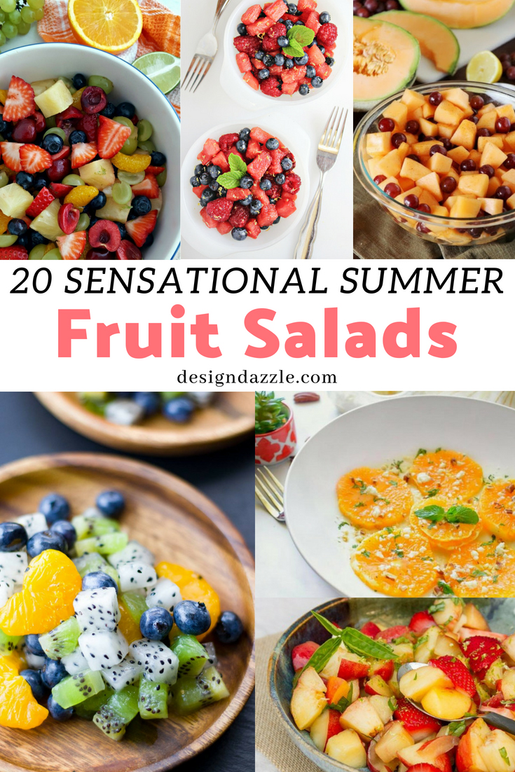 These summer fruit salads are guaranteed healthy and delicious! They are also a feast for the eye with their beautiful, vibrant colors! - Design Dazzle