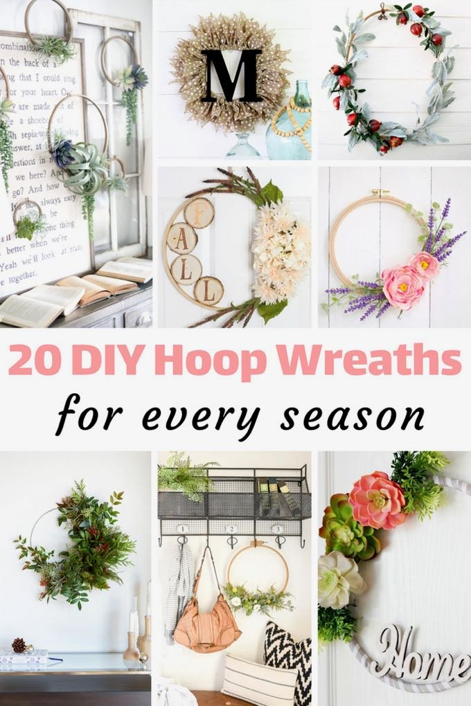 You definitely need to make one (or maybe more) of these DIY hoop wreaths for your home! They're so pretty and so quick and easy to make! - Design Dazzle
