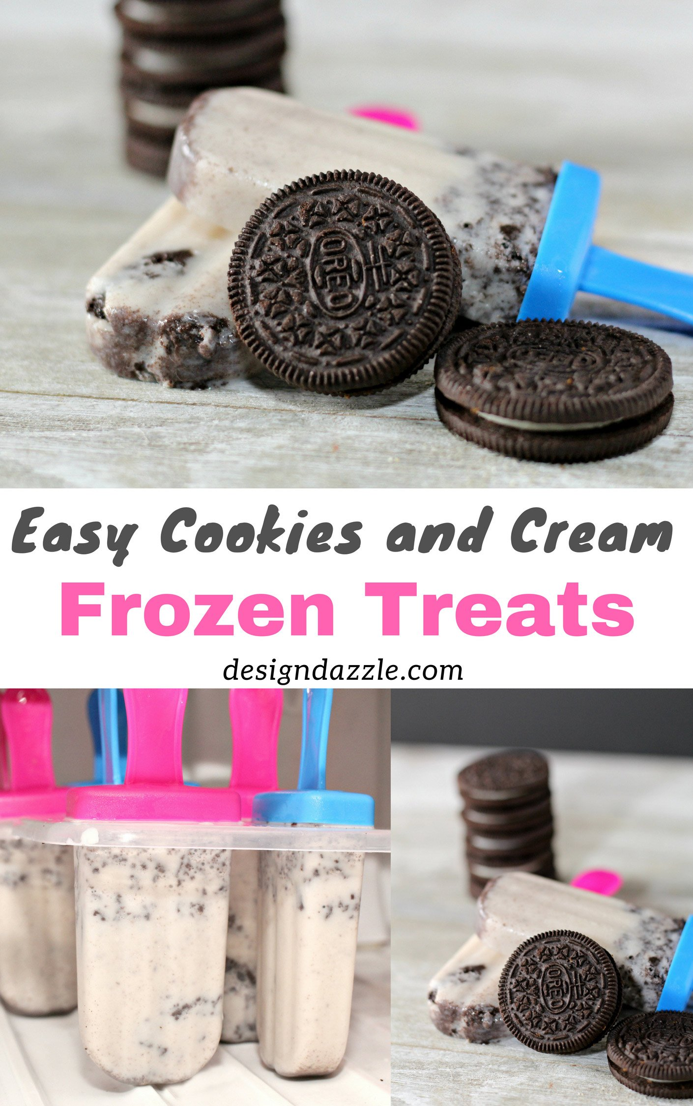 These cookies and cream frozen treats are super easy to make! Although you need to wait for few hours before they could be served, the wait will definitely be worth it! These are perfect for an afternoon snacks for both the kids and adult in the house or as treats for your party...an Oreo themed party! Why not!- Design Dazzle