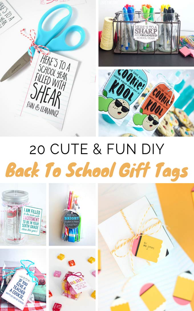 These DIY back to school gift tags are super cute you will want to give them to your kids' teachers even if it's not the first day of school! They're also super easy and quick to make, even the kids will have fun making them! - Design Dazzle