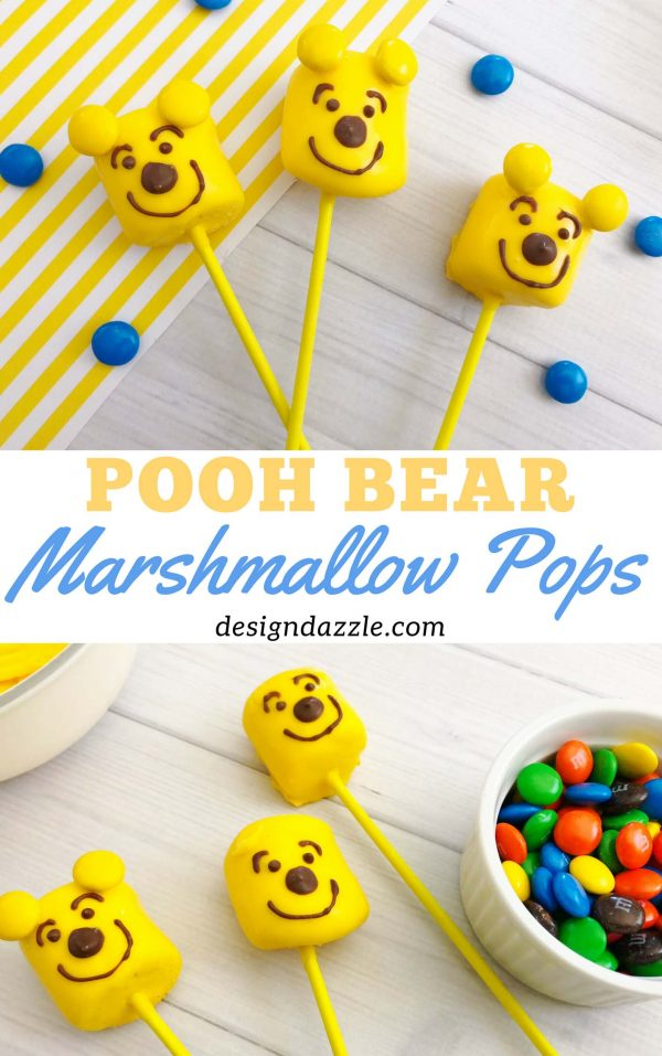 Make these Winnie the Pooh bear marshmallow pops in minutes! So easy and quick to make and super fun too! The kids will definitely enjoy making AND munching on them! | Design Dazzle