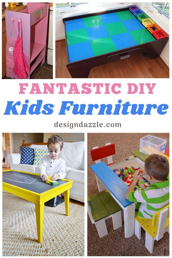 DIY Kids Furniture ideas that are cute and easy! Help your kid's playroom or bedroom look amazing! #DIY #diyfurniture #kidsrooms | Design Dazzle