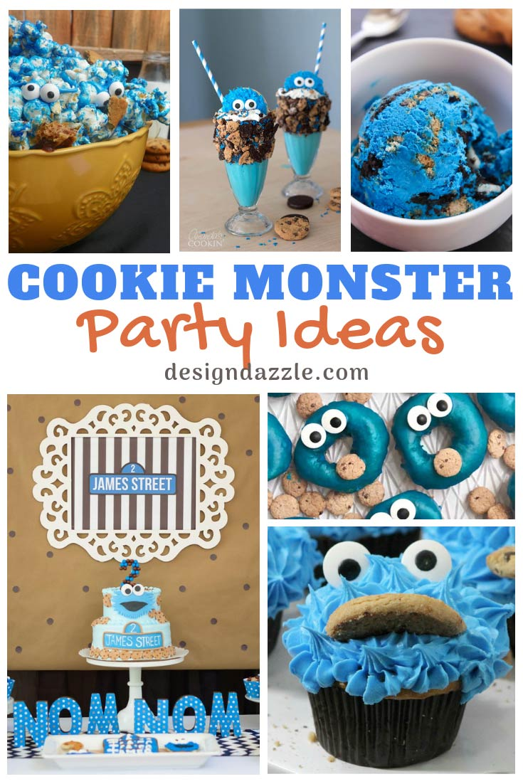 Check out cookie monster party ideas - cookie monster inspired party decor, ice cream, popcorn, donuts, cupcakes, brownies, pretzels, and more! - Design Dazzle