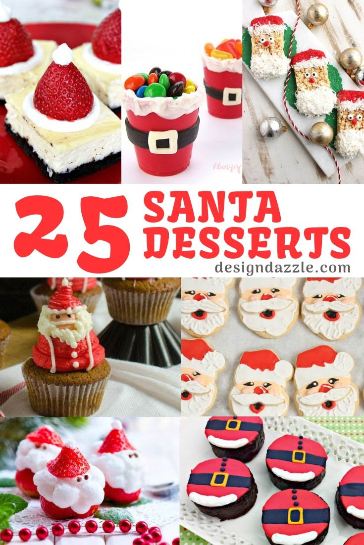 25 Santa Treats and Desserts are perfect for your next Christmas Party! These recipe ideas are easy and delicious! #christmas #christmastreats #christmasdesserts || Design Dazzle