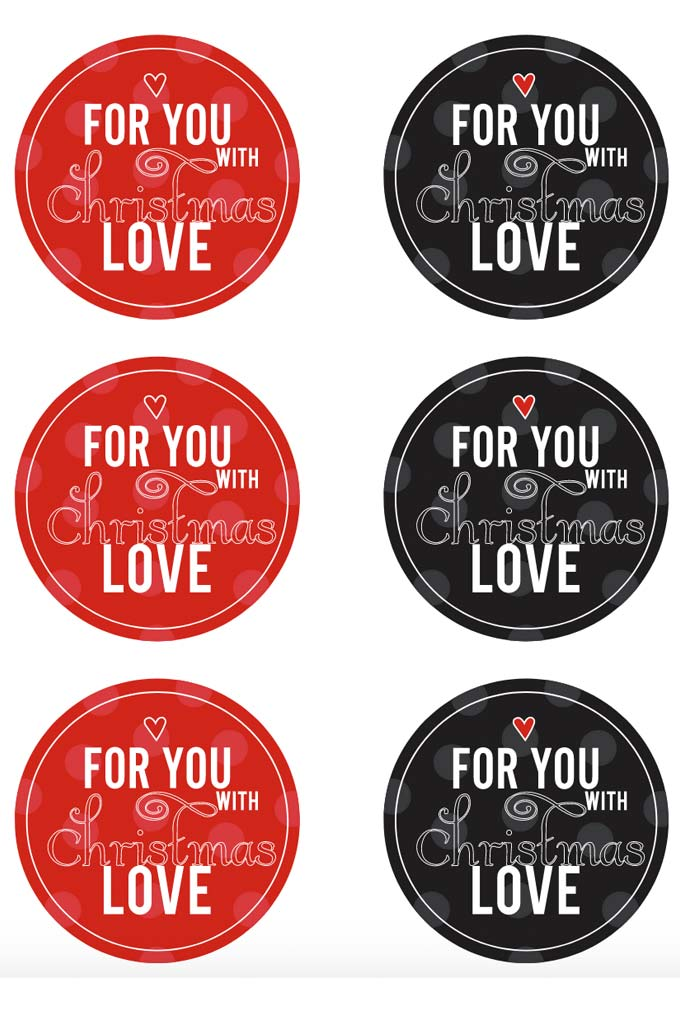 """""""For you with Christmas Love"""" tags for all your Christmas presents! The cutest free printable will make your gifts pop! #Christmas #christmasgifts 