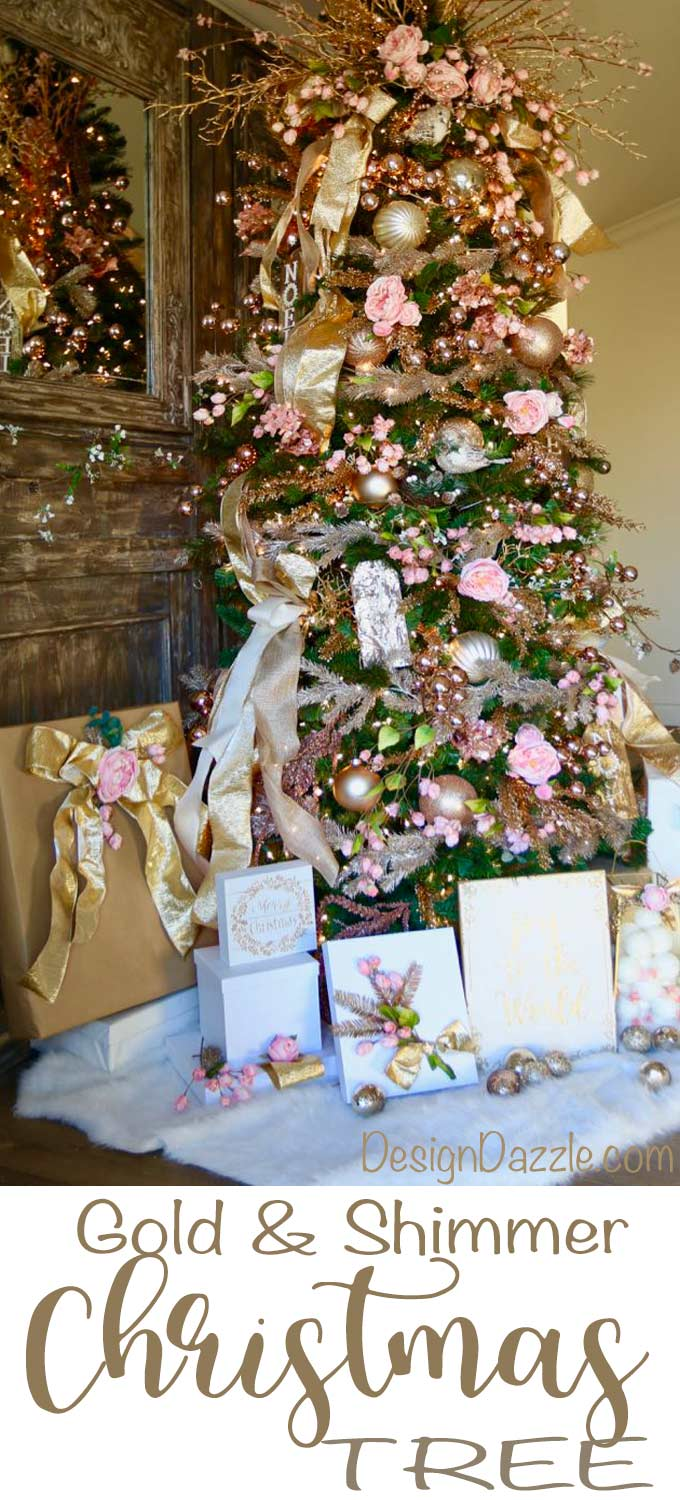 Gold Metallics Floral Christmas tree by Michaels Maker - Toni Roberts Design Dazzle
