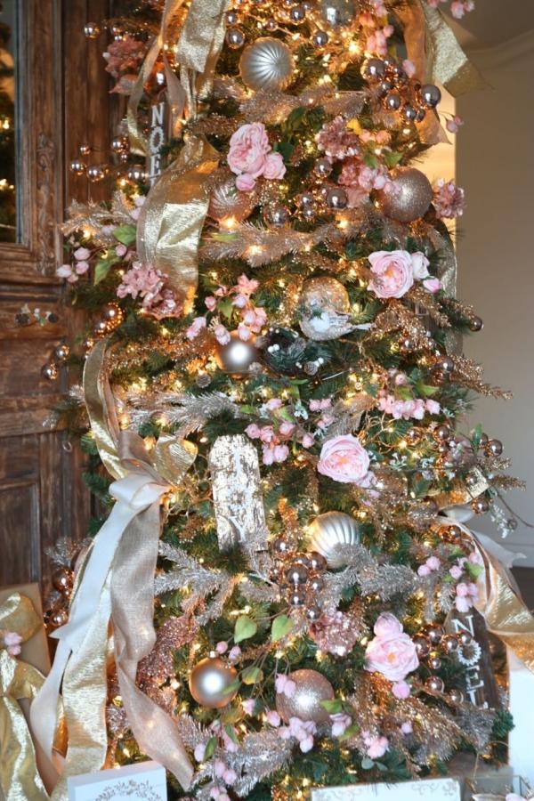 Pink Florals And Gold Metallics Christmas Tree - Dream Tree Challenge | Toni Roberts Design Dazzle