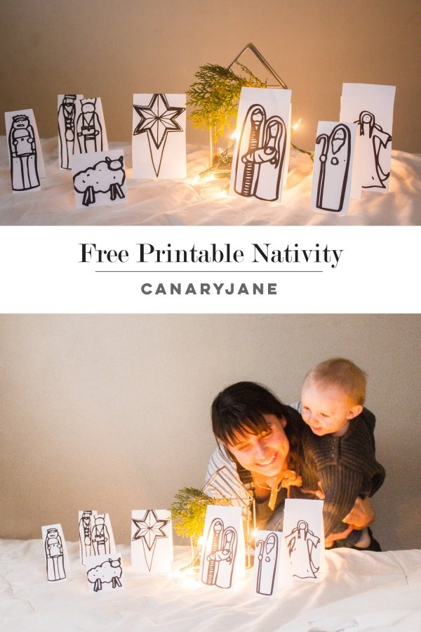 The cutest printable Nativity that your kids will love to color! This adorable nativity scene is totally free! #christmas #nativity || Design Dazzle