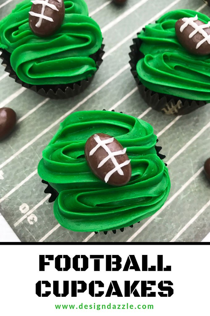 These are definitely the easiest football cupcakes you will ever make. They are also absolutely delicious, perfect for your super bowl party! #football #superbowlparty | Design Dazzle