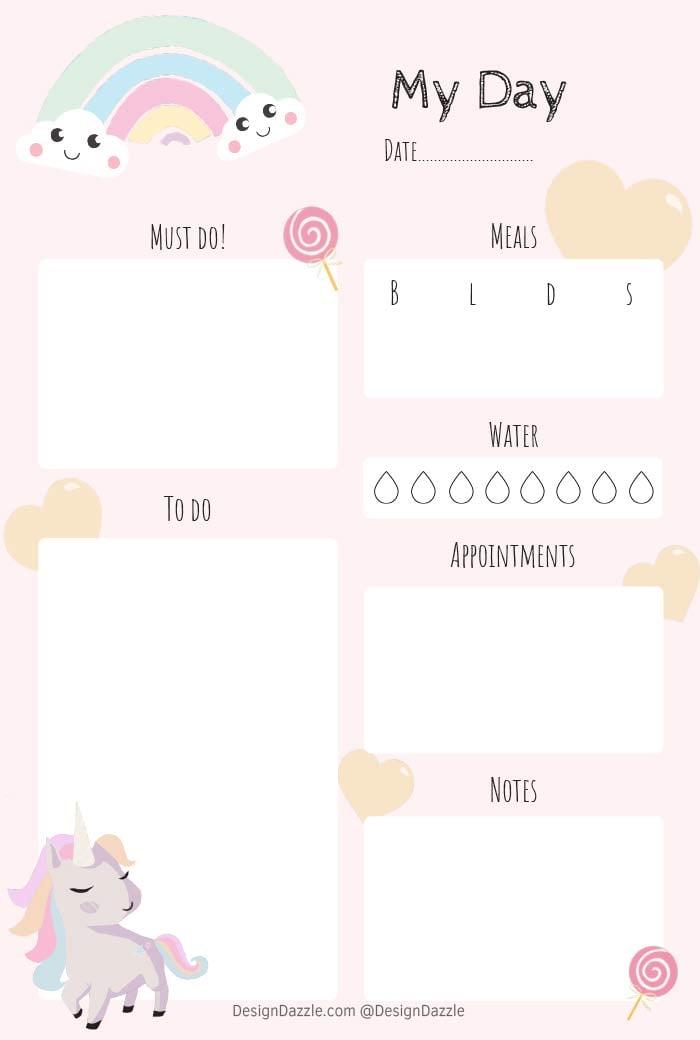 Free Unicorn Planner printable by Design Dazzle
