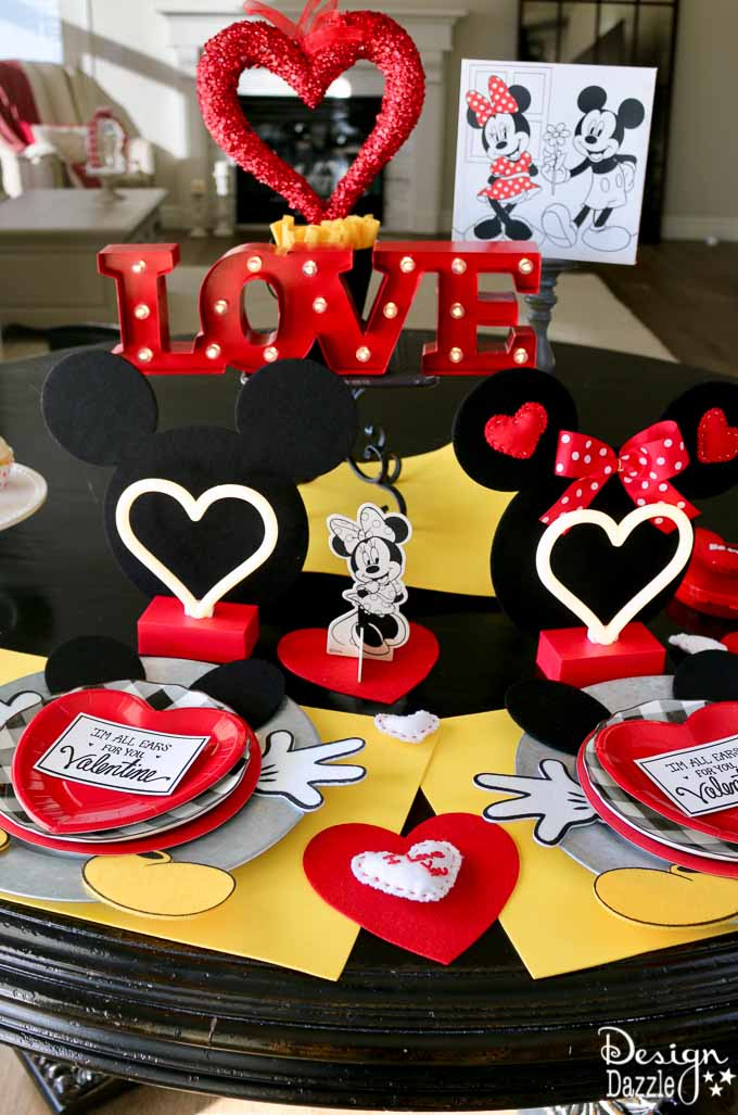 Whether you are planning a party for kids or adults, this Mickey and Minnie Valentine's Day Celebration is adorable and loads of fun!| Design Dazzle