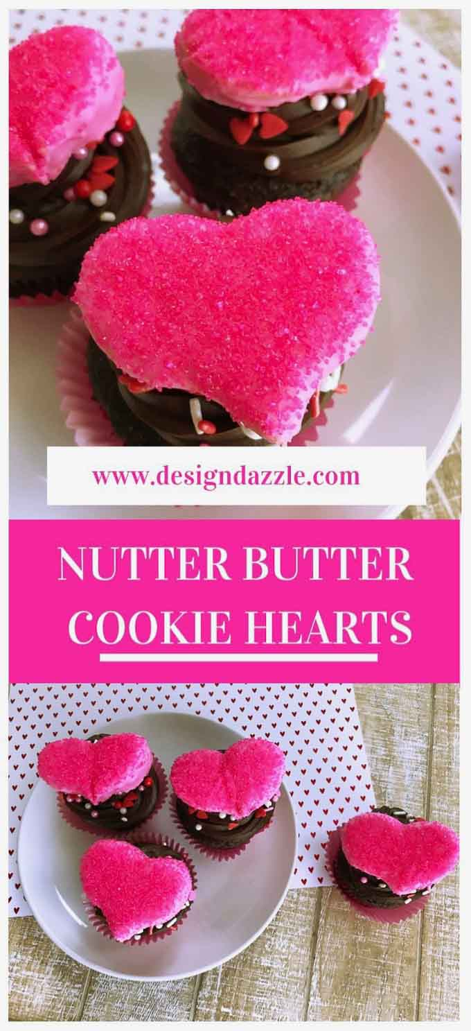Oh my these Nutter Butter cookie hearts will melt your heart! Quick and easy Valentine's Day treat that is so fun to make! #valentinesday - Design Dazzle