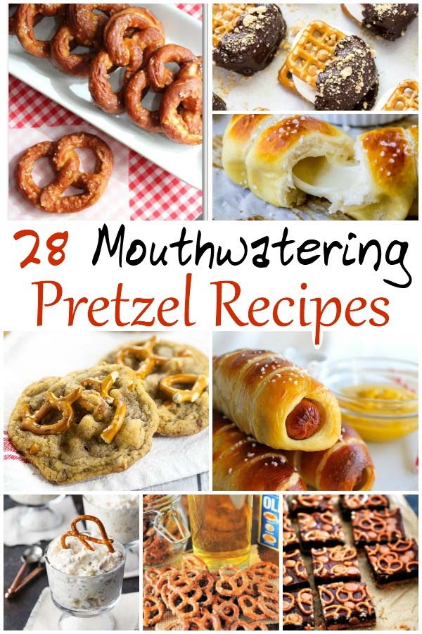 Delicious pretzel recipes, both sweet and savory! Dessert ideas and snack ideas for mouthwatering soft pretzels. #pretzels #desserts || Design Dazzle