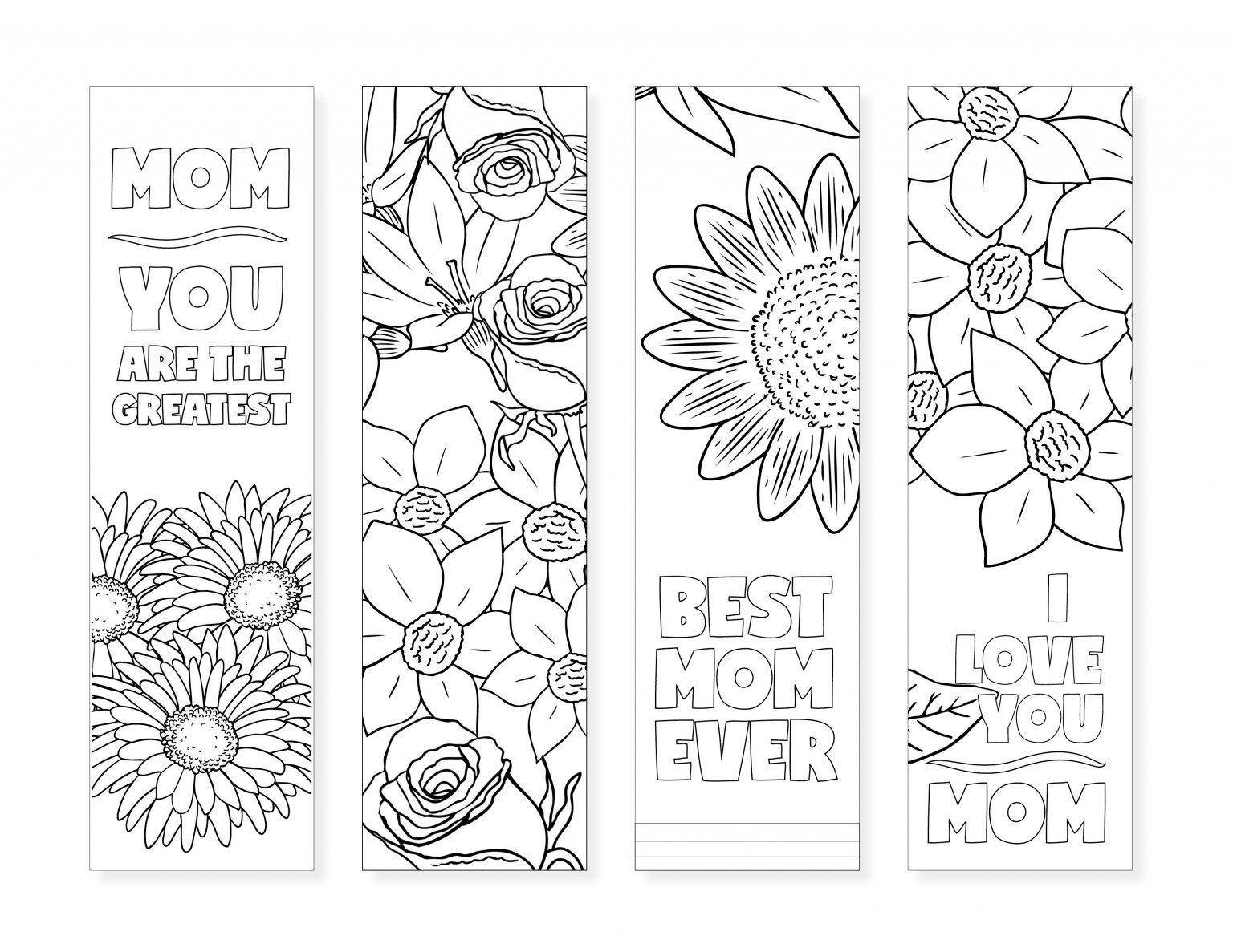 These printable bookmarks for moms are a simple and sweet gift idea! And they're absolutely FREE! You can color them too! - Design Dazzle