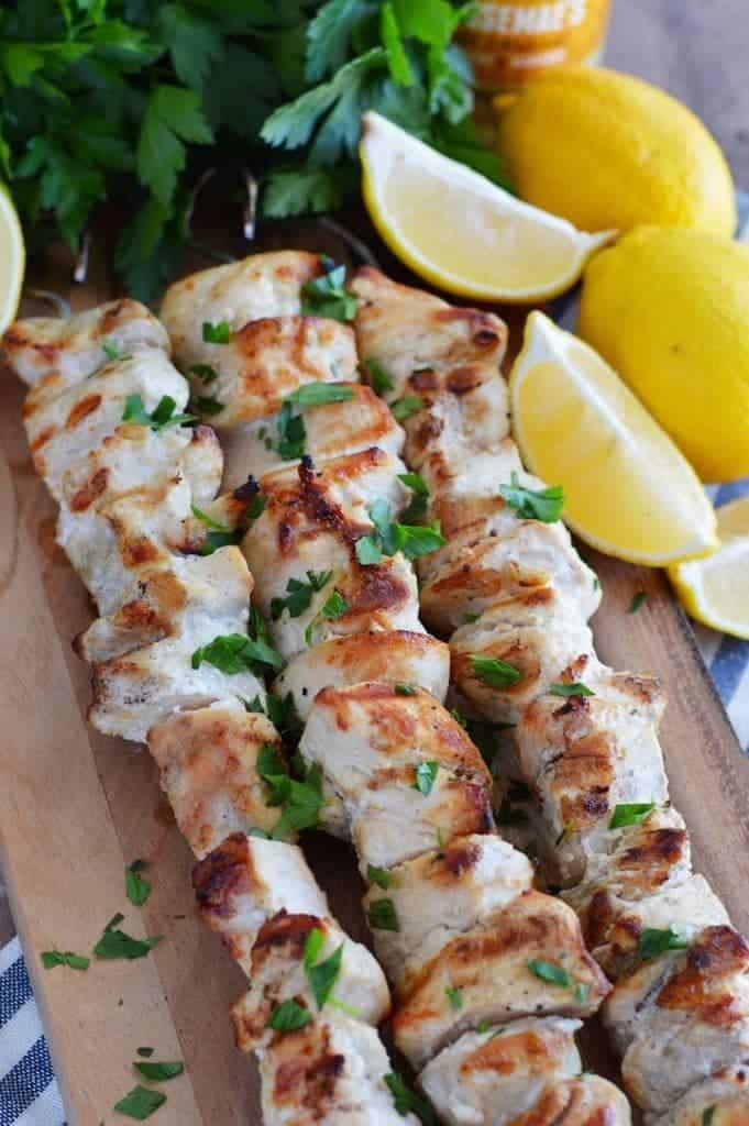 Lemon gar oc chicken skewers