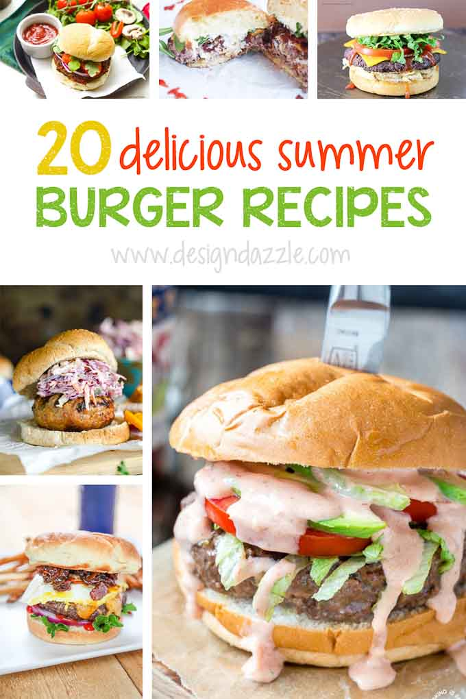 Summer burger recipes pinterest with text