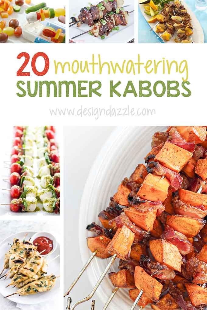 Summer kabob recipes pinterest with text