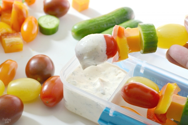 Veggie skewers with ranch