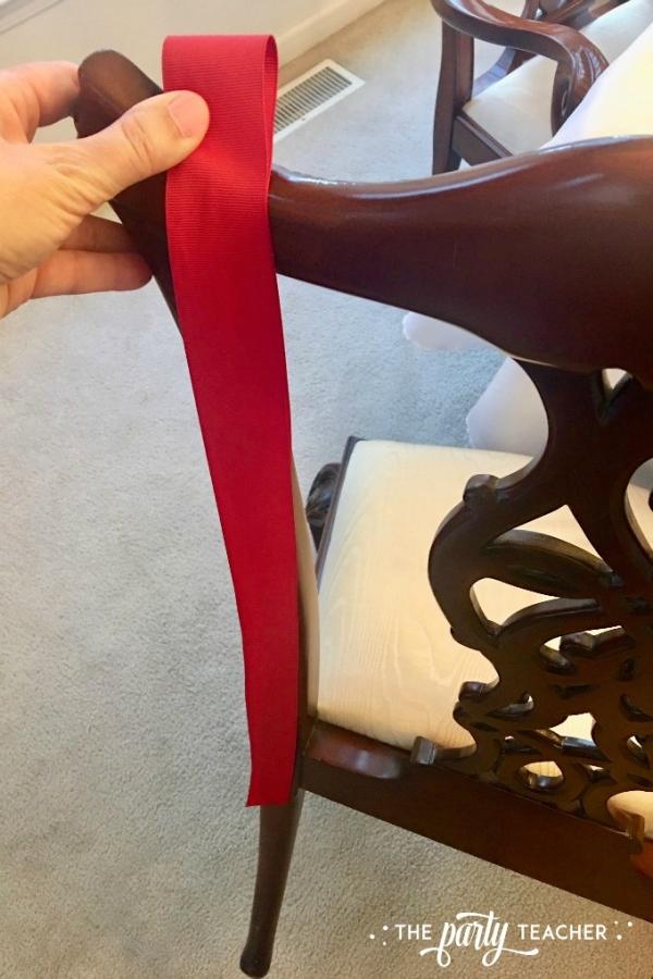 Christmas chair ornament bow tutorial by the party teacher 1