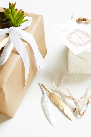bohemian style gift wrapping for Chrsitmas