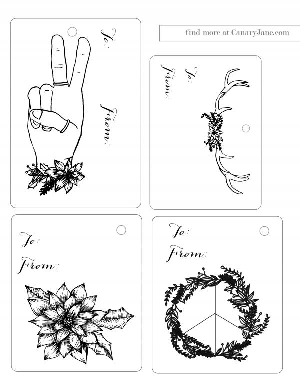 Christmas tags free printable canary jane boho classic 02