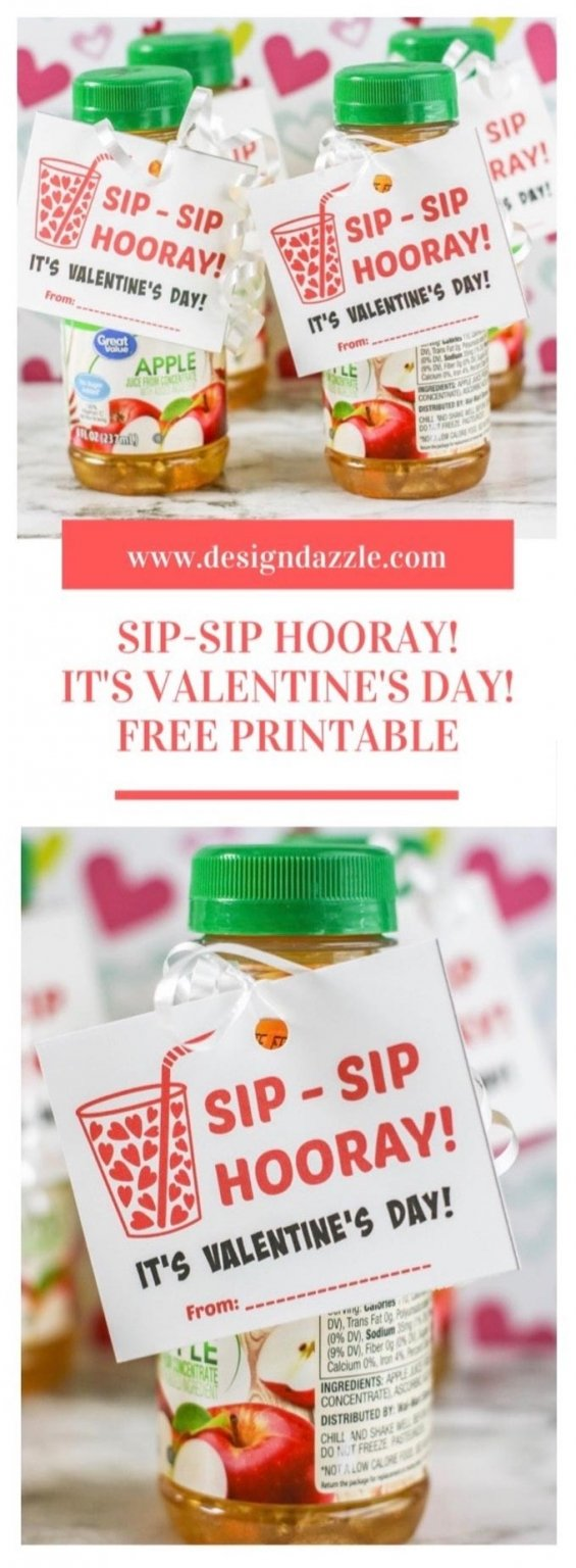 Sip-Sip Hooray! It's Valentine's Day! How adorable is this free printable? This would be so cute to give out to your kids' classes OR as a neighbor gift! | Design Dazze