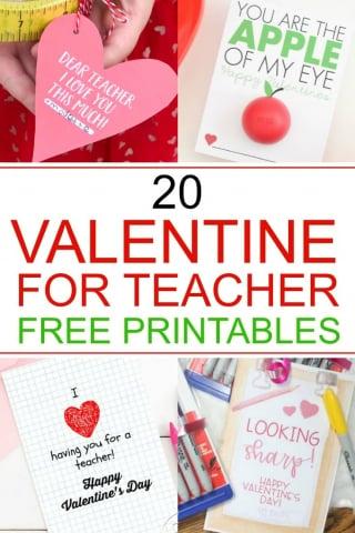 Valentine for teacher free printables text