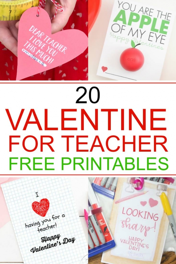 Valentine for teacher free printables text