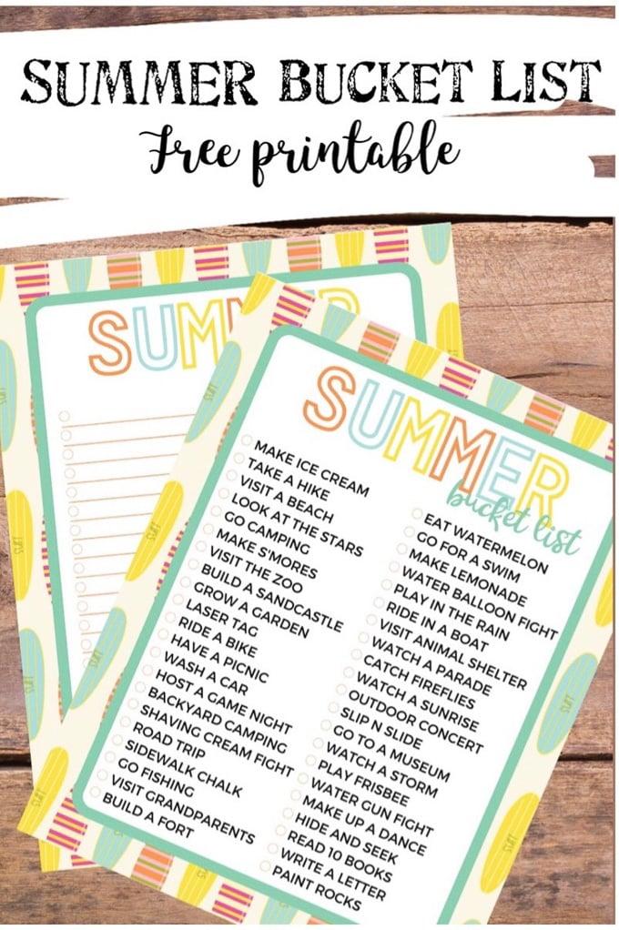 Summer bucket list 1