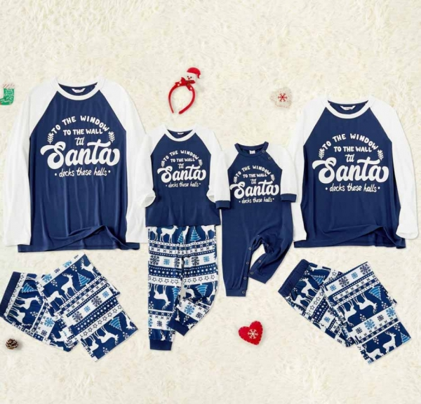 Blue and White Holiday PJ's