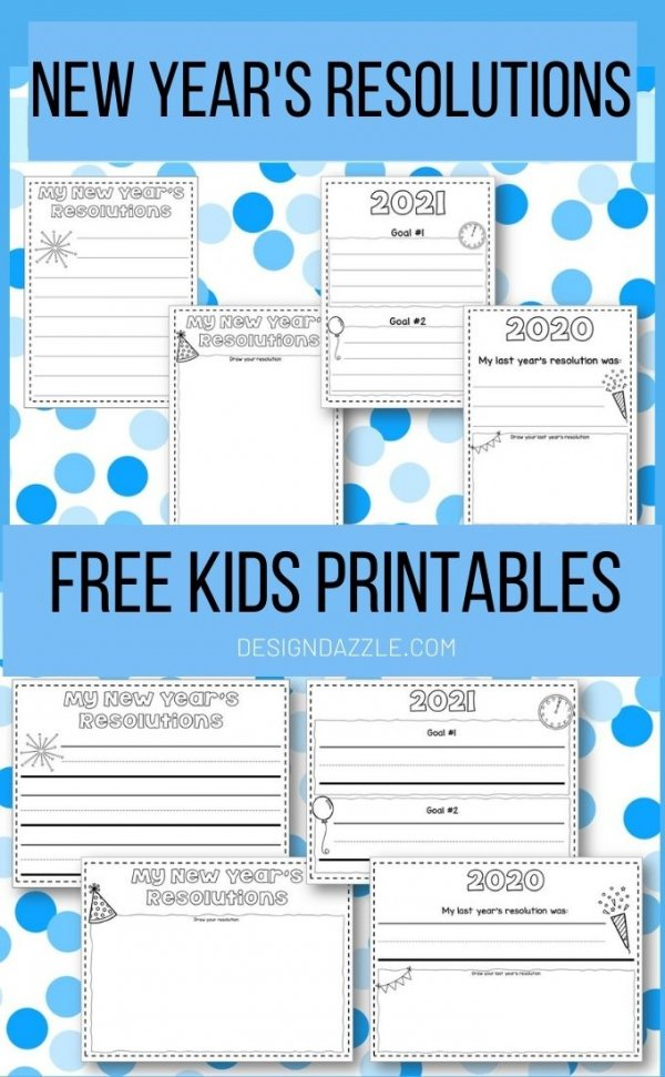 New Year's Resolution Kids Free Printables