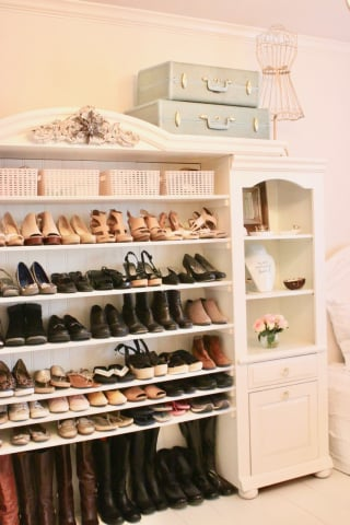 Repurposed entertainment center to shoe storage cabinet