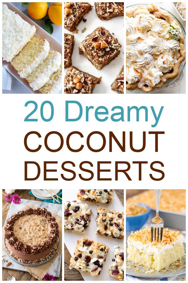 20 dreamy coconut desserts text